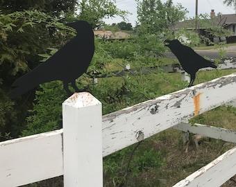 Crow or raven metal yard art