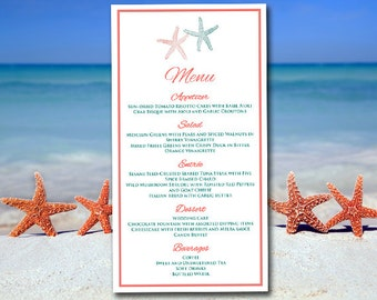 "Beach Wedding Menu Template, Starfish Menu Coral Reef Jade Instant Download, Printable Menu Entree Card ""Lazy Starfish"" Menu Card Template"