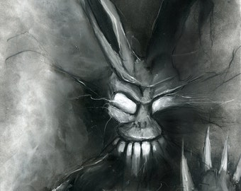 Donnie Darko Frank the Bunny illustration print charcoal art pastel giclée fine art wall print 8x10 horror art movie art black and white