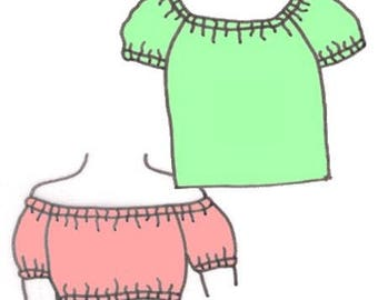 Plus Size Girls Modernized Peasant Blouse PDF Sewing Pattern, Sizes 14-16