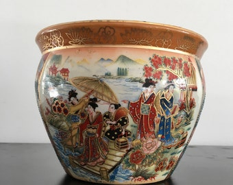 Vintage, Chinese Fish Bowl Planter, Plant Pot, Chinese Plant Pot, Oriental Decor,Asian Interiors, Asian Plat Pot,Chinese Decor,Oriental,Pot