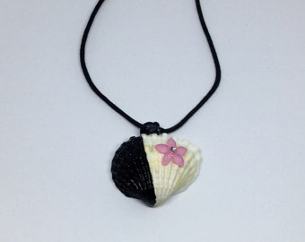 Real shell with pink flower and partly  hand painted black