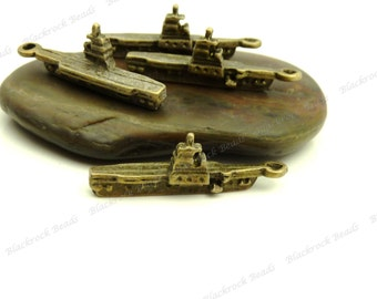 6 Ship Charms 3D - Antique Bronze Tone Metal - BB22