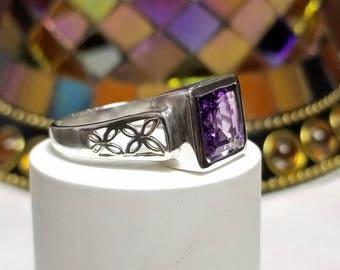 2.33 ct Amethyst Ring in Sterling Silver / Square Octagon Bezel Set Natural Purple Amethyst Gemstone Ring / De Luna Gems / Free Shipping!