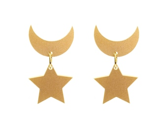 Sailor Moon Crescent Moon and Star Earrings (Metallic)