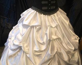 White Bustle Skirt Pick up Victorian Renaissance Steampunk Wedding Victorian Rococo custom sized CUSTOM ORDETS OPEN