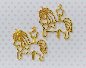 50mm Kawaii Golden Carousel Unicorn Pony Bezel Pendant Charm - set of 2