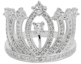 Queen's Crown Sterling Silver Women's Ring (Size 8)