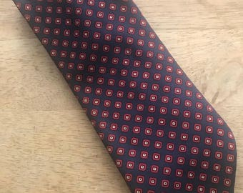 Vintage Blue and Red Tie, Beau Brummell Tie, Navy Blue and Red Checkered Wide Tie from the 1980s, Vintage Necktie, Vintage Wide Necktie