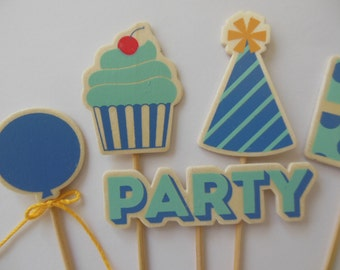Birthday Cake Toppers - Aqua and Blue - Wooden Birthday Themed Embellishments - Set of 6