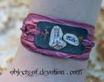 Catholic Jewelry * Catholic Bracelet * Silk Wrap Bracelet * Spiritual Jewelry * Catholic Gift * Spiritual Bracelet * Mary Jewelry * Our Lady
