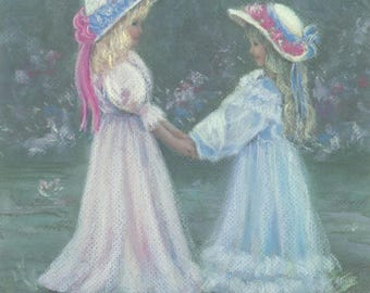 Best of Friends art print, girls, hats, dressup, vintage clothing, playing, ribbons, Victorian style, Betty Morris Hamilton