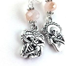 Day of the Dead Earrings - Sterling Silver Sugar Skull Earrings - Halloween Jewelry - Dia De Los Muertos Earrings - Skeleton Earrings