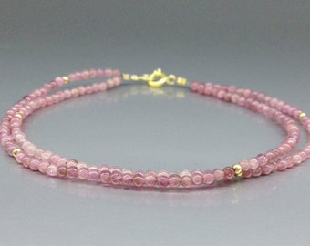 Fine pink Tourmaline bracelet - two strings of Rubellite with 14K gold plated accents - gift idea - pink and gold - natural gemstone