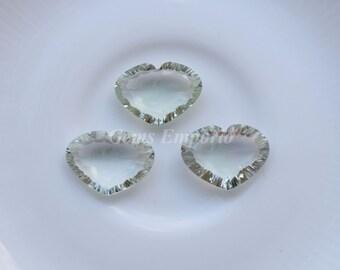 Green Amethyst Faceted Hearts 20x8 MM / Prasiolite Gemstone / Green Quartz / Amethyst Heart Drops