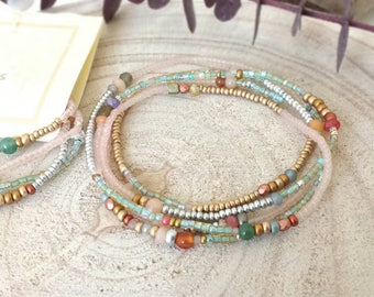 Sandy Beaded Wrap Bracelet with or without Tassel - Seed Bead Stackable Multi Strand Stretch Bracelet