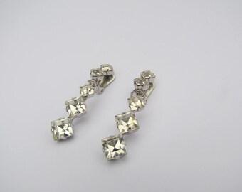 Austria, Earrings, Long, Crystal Earrings, Bridal Earrings, Bridal Jewelry, Vintage, Clip On, Dangle Earrings, Austrian, Crystal Jewelry