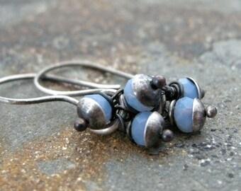 tiny light blue glass bead earrings, blue bead earrings, czech glass earrings