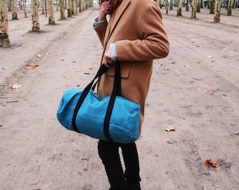 Blue canvas duffel bag