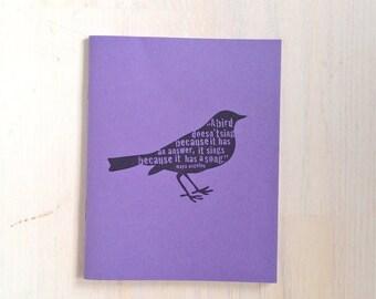 Medium Notebook: Bird, Maya Angelou, Purple, Cute Notebook, Stocking Stuffer, Christmas, Journal, Unlined, Unique, Gift, Notebook, DDD286