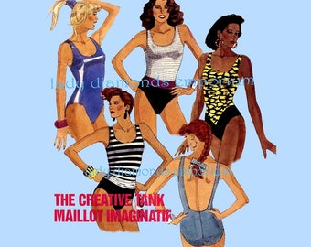 McCalls 4301 Womens One-Piece Swimsuits French Cut Leg Option Bathing Suit Maillot Tank size 12 Bust 34 Vintage 80's Sewing Pattern Uncut FF