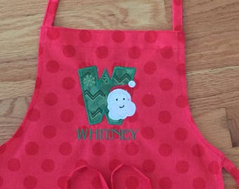 Personalized Christmas Apron - Child's Apron - Art Apron - Cooking Apron - Christmas Apron - Embroidery Christmas Apron