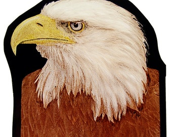 Bald eagle stained glass, kilnfired, glass painting, eagle suncatcher, eagle glass fragment, suncatcher, stained glass fragment, bald eagle