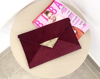 Evening clutch bag Burgundy, Burgundy and gold glitter - Burgundy envelope clutch - bridesmaid gift