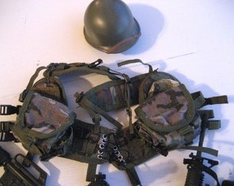 GI Joe vintage accessories.  Doll clothes.  Miniature guns.  Lot.
