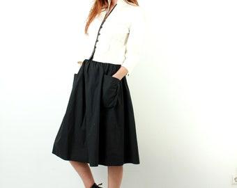 Black Cotton Flared Skirt / Vintage Skirt / With Pockets / Minimalist Skirt / High Waist Skirt / Knee Length Skirt / Size S