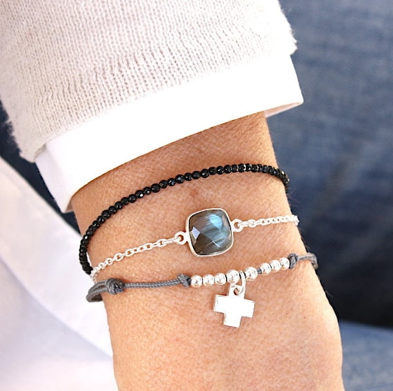 Cross bracelet and cord to choose from 925 sterling silver beads