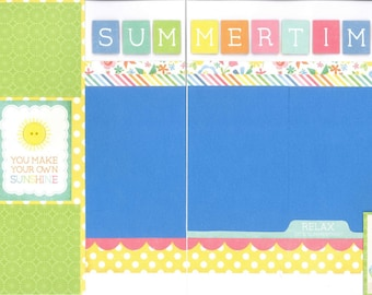 12x12 SUMMERTIME scrapbook page kit, premade summer scrapbook, 12x12 premade scrapbook page, premade scrapbook pages, 12x12 scrapbook layout