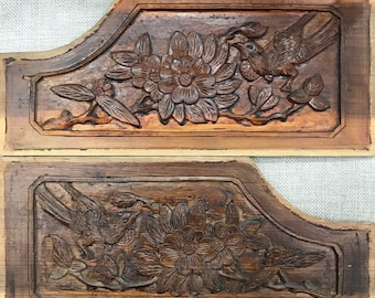 One Pair Of Carved Wood Panel Handmade By Old Chinese Folk. Part Of The Old