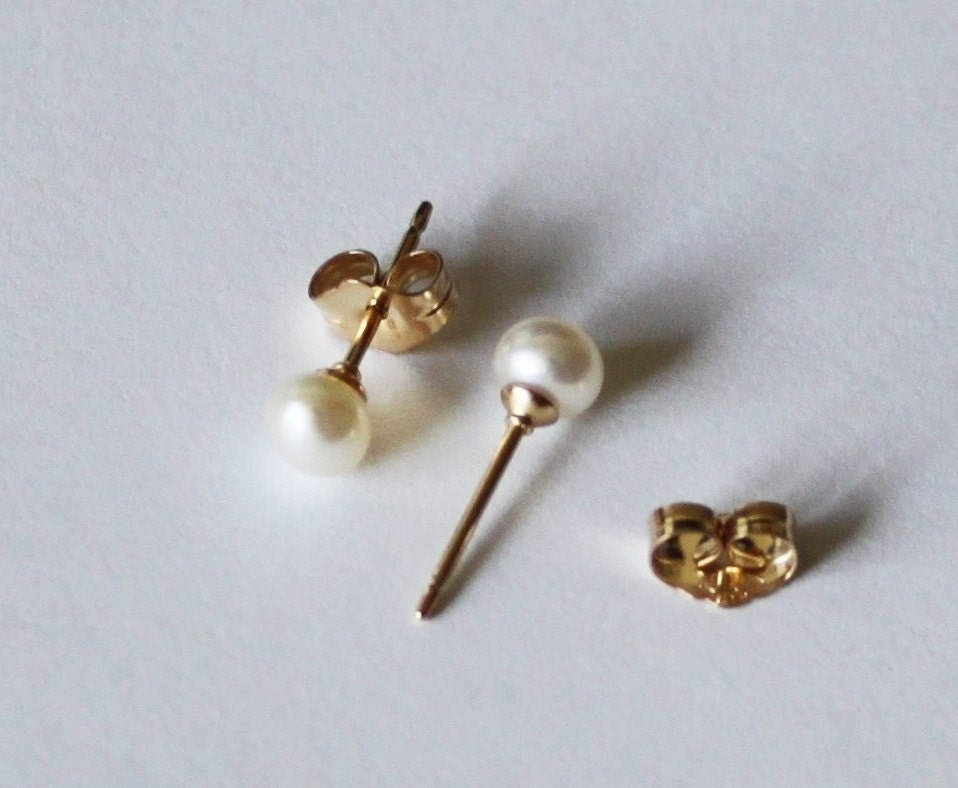 Tiny 3mm 4mm white fresh water pearl studs 14K gold filled