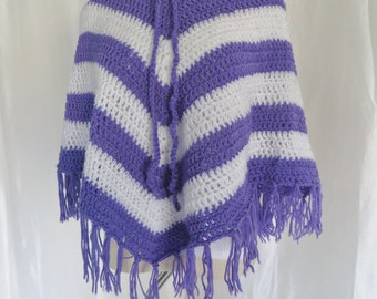 Vintage womens poncho, purple white stripe, 70s hand knit, fringe sweater, Mothers Day gift