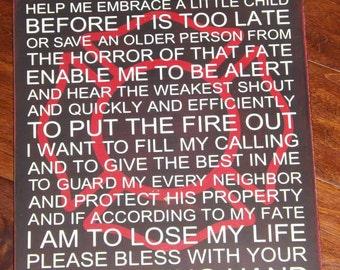 Firefighter Prayer Wood Sign