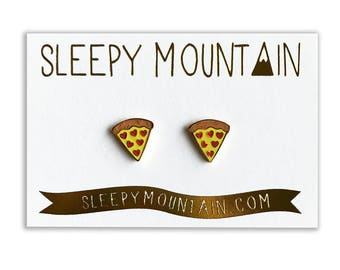 Pizza Earrings - Gold Plated Pizza Slice Stud Earrings