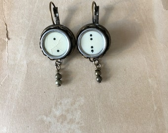 Typewriter Key Earrings, Antique Bronze. Gift for Writer.