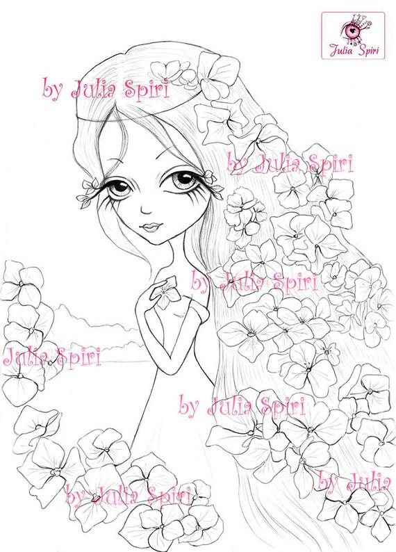 Digitale Briefmarken Digi Blumen Mädchen große Augen
