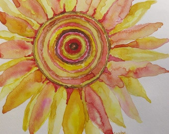 Sunflower watercolor, original sunflower watercolor painting