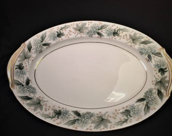 """Pretty Oval Serving Platter by Noritake in """"Argyle"""" Pattern, Nice Neutral Colors, Style 5311, Made in Japan, 1952-1957."""