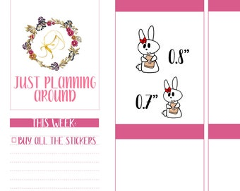 Planner Girl, Rosy the Bunny Stickers, Planner Stickers,  TN Girl Stickers, Hand Drawn Stickers