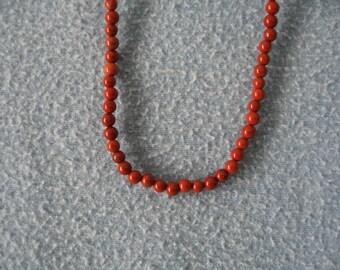 4mm Round Red Jasper gemstone Necklace