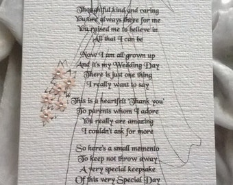 Mother or Parents of the Bride Wedding Sentiment Poem Card. A Luxury Handmade Keepsake Poem