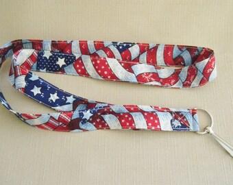 American Flag Print2 - handmade fabric lanyard