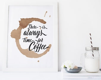 printable art Coffee Quote print, but first coffee, Coffee stain print,kitchen wall decor typography poster quote print, modern print