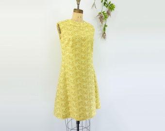 Vintage Yellow Dress 60s Yellow Dress 60s Linen Dress 1960s Dress 60s Vintage Dress Summer Dress Fit and Flare Dress Sleeveless Dress S