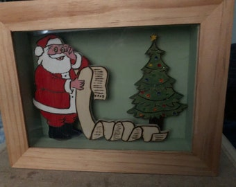 Wooden Shadow Box with Santa Claus and the List