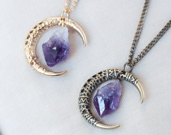 Amethyst necklace etsy half moon amethyst necklace half moon pendant raw stone necklace amethyst pendant bohemian necklace aloadofball Gallery