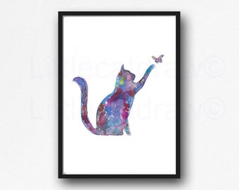 Cat Print Rainbow Cat with Butterfly Watercolor Painting Print Kitty Cat Kitten Art Print Wall Art Wall Decor Cat Lover Gift Pet Moms
